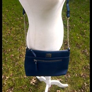 Anne Klein's Blue Pebbled Simulated Leather Cross